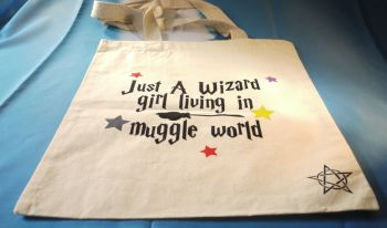"""Just A Wizard Girl"" Cotton Bag Medium"