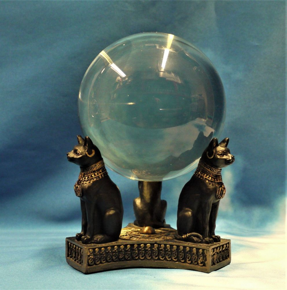 Bastet's Honour Crystal Ball And Stand