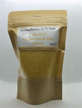 Aromatherapy Bath Salts -  Yellow- Grapefruit, peppermint & May Chang