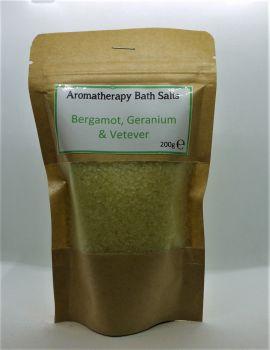 Aromatherapy Bath Salts - Green- Bergamot, geranium, vetever
