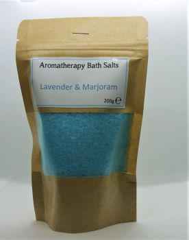 Aromatherapy Bath Salts - Light Blue- Lavender & Marjoram