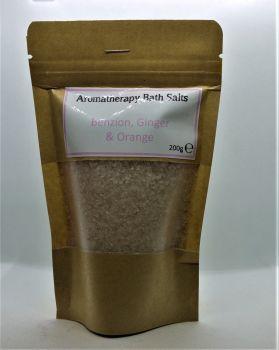 Aromatherapy Bath Salts - Light Pink - Benzion, Ginger & Orange