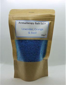 Aromatherpapy bath salts - Dark Blue - Orange & Basil