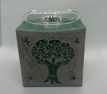 Soapstone Oil Burner - Tree of life - Green
