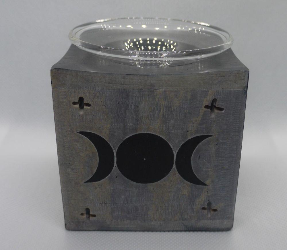 Soapstone oil burner - Triple moon  - Black