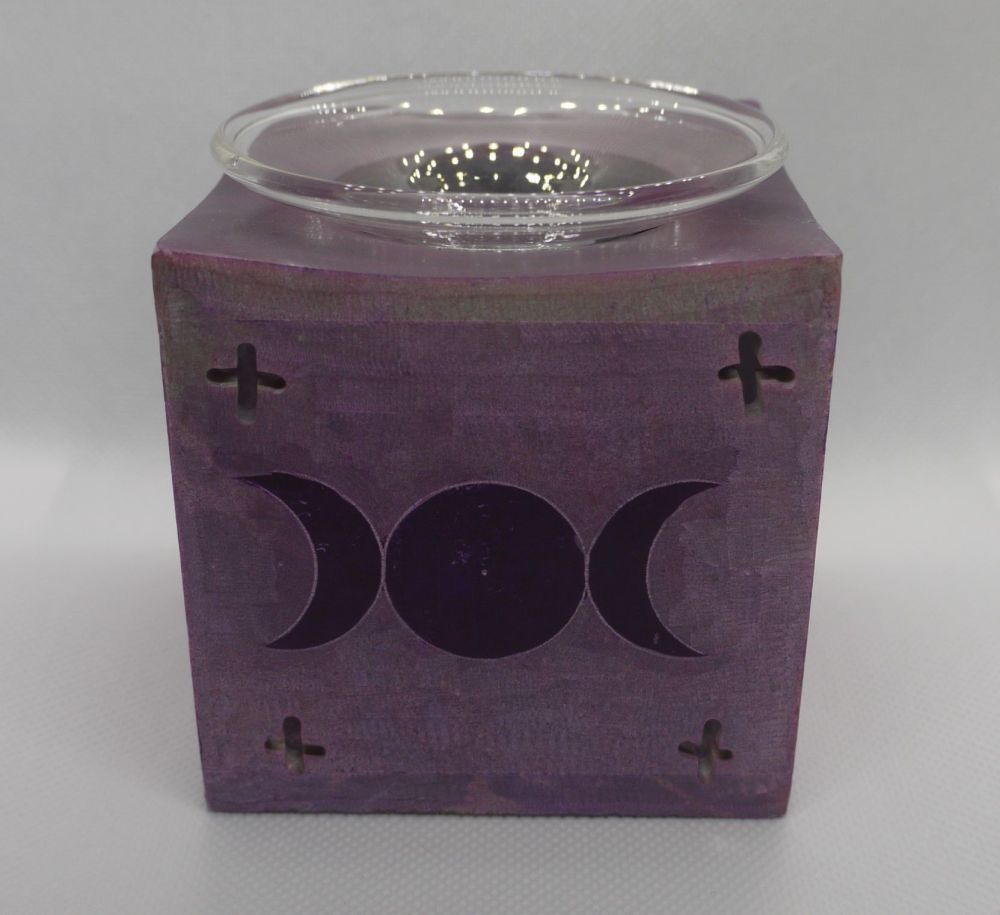 Soapstone oil burner - tripple moon - Purple