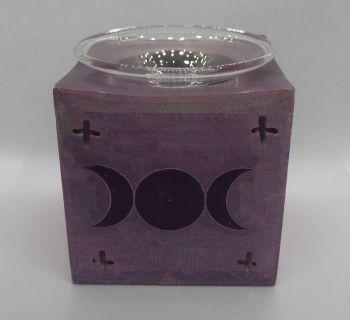 Soapstone oil burner - tripple moon - Purple