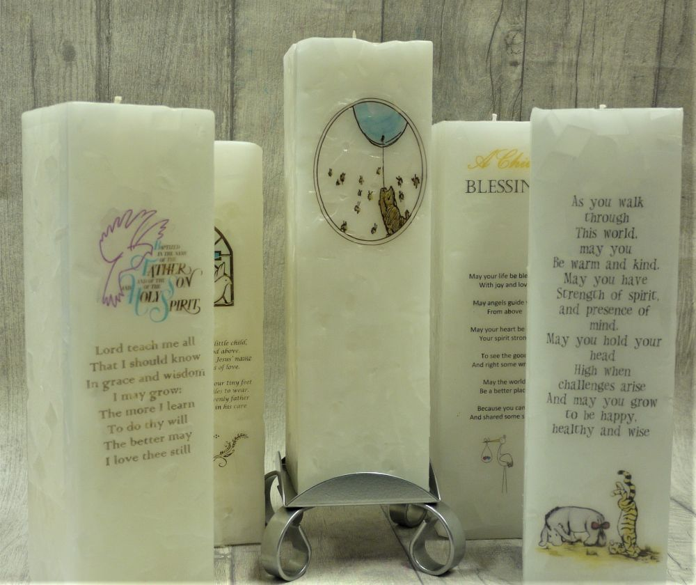 Luxuary Christening / Nameday Pillar Candles