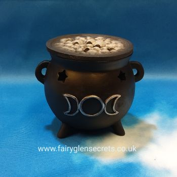 Cauldron incense cone holder - Triple Moon