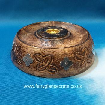 Wooden large round incense holder