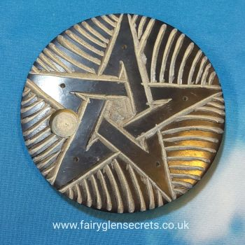 Soapstone incense holder with pentagram design - round