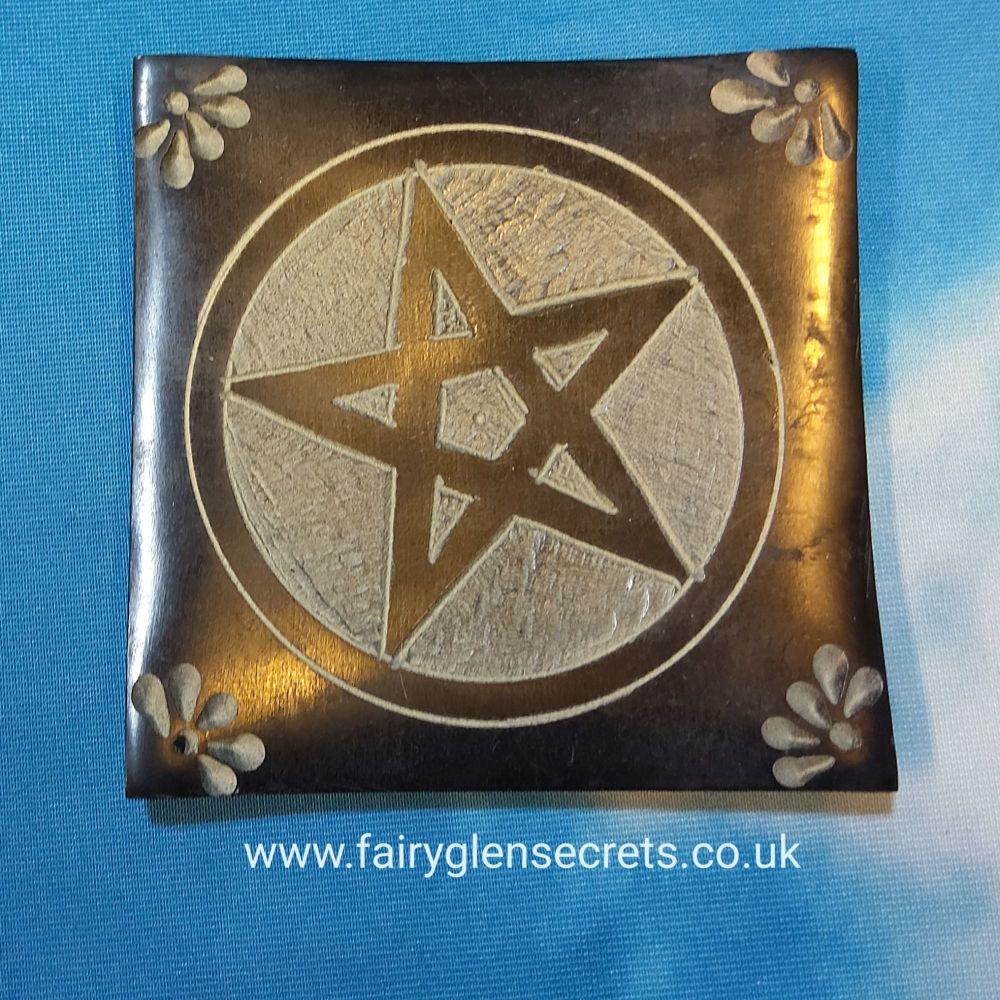 Soapstone Incense holder with pentagram design - square black