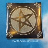 Soapstone Incense holder with pentagram design - square black
