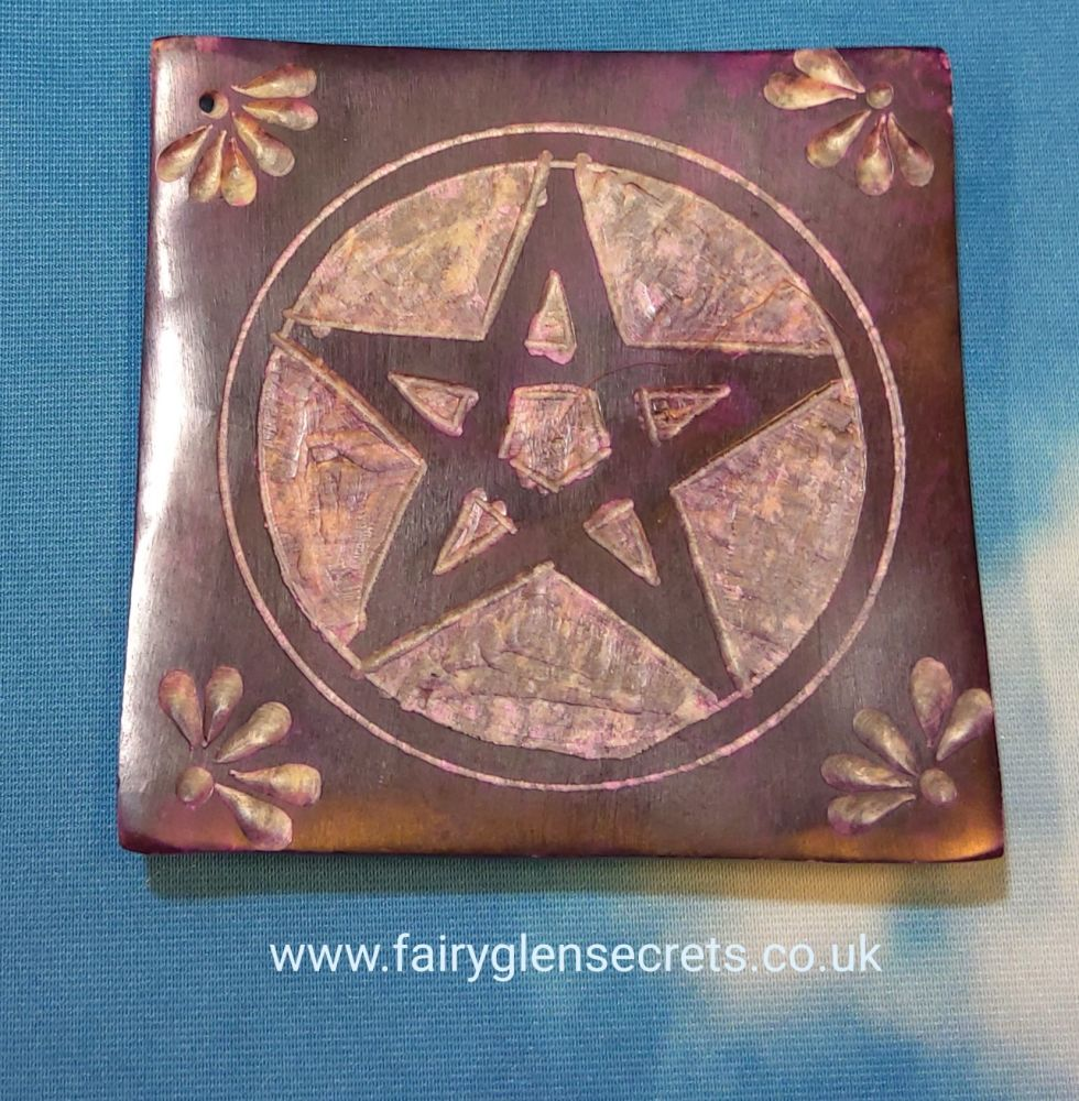 Soapstone Incense holder with pentagram design - square Purple
