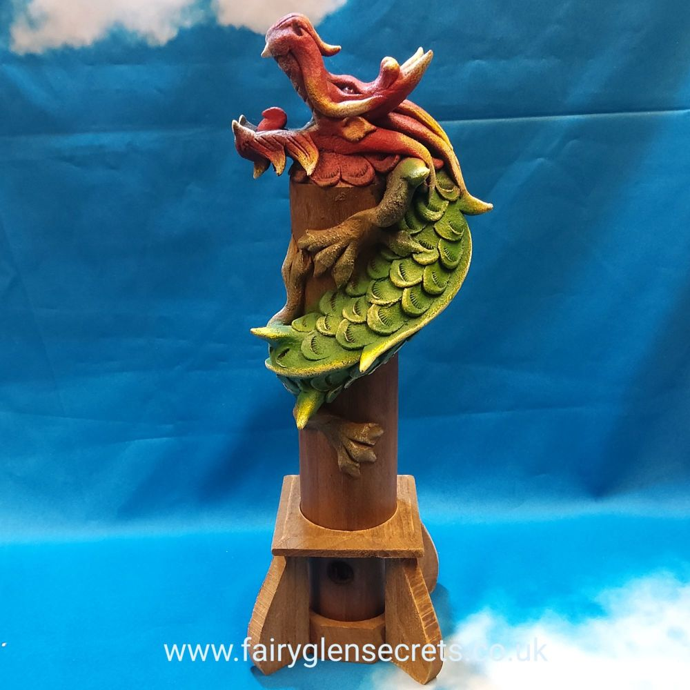 Wooden dragon incense holder - Single head