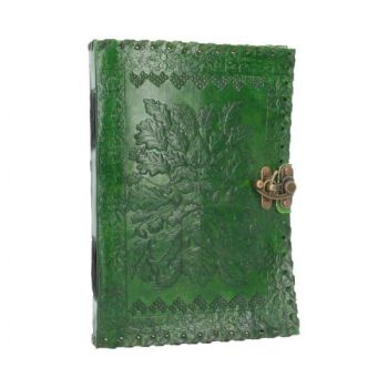 Leather Embossed Journal Greenman with clasp