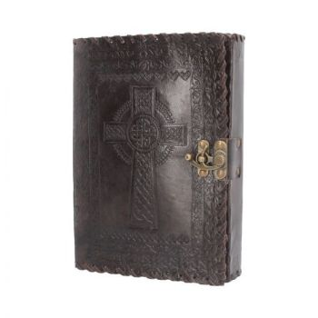 Leather Embossed Celtic Cross Journal With Clasp