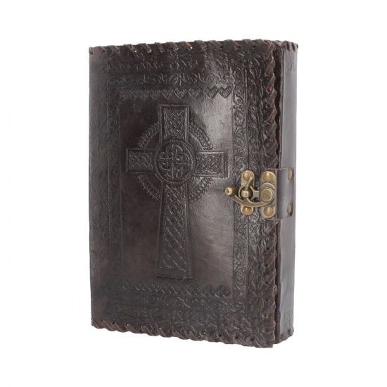 Leather Celtic Cross Journal With Lock