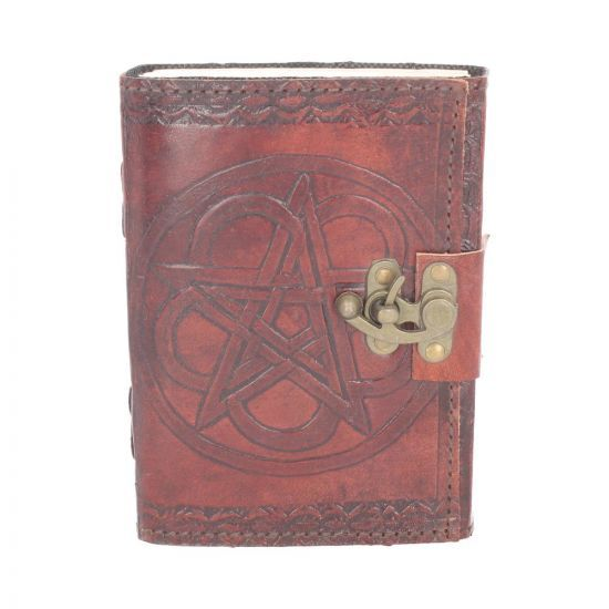 leather Embossed Pentagram Journal with clasp