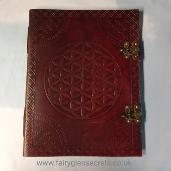 Leather Embossed flower of life large journal with clasps