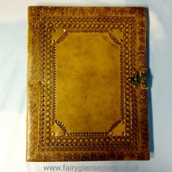 Leather embossed large journal with clasp