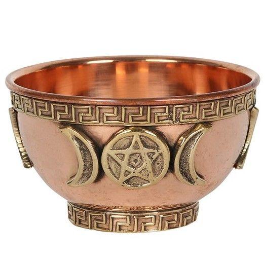 Brass offering bowl - Triple Moon