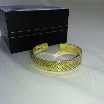 Brass Tibetan Bracelet - Wide Tribal Leaf