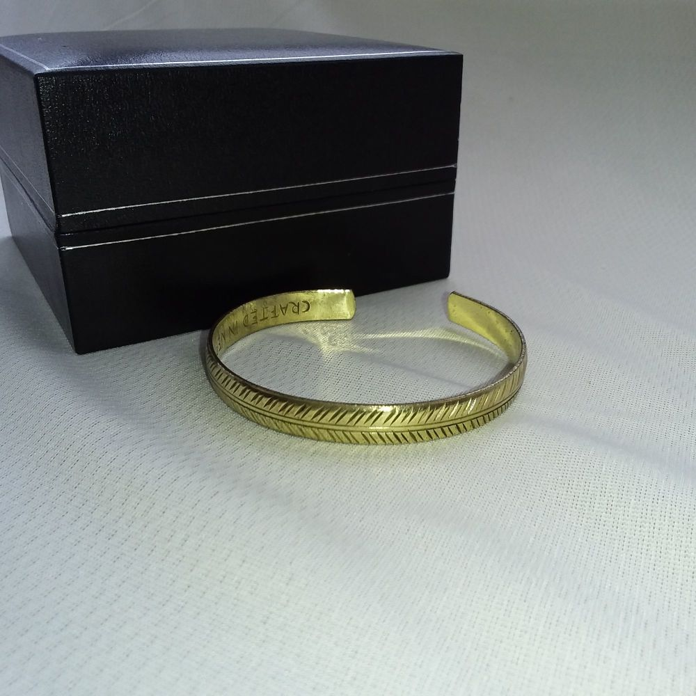 Brass Tibetan Bracelet - Slim Tribal Leaf