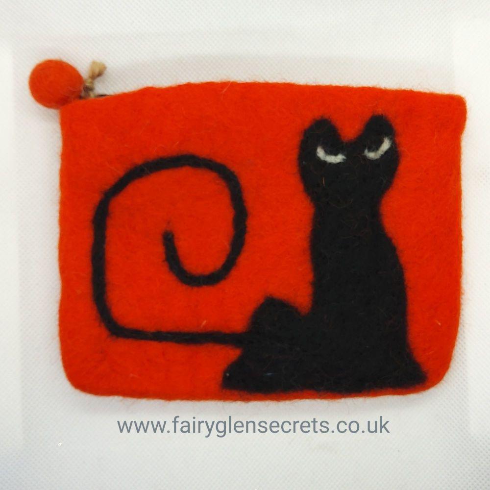 Black Cat Purse - Orange