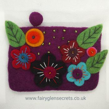 Flower purse - Purple