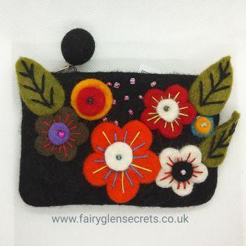 Flower purse - Black