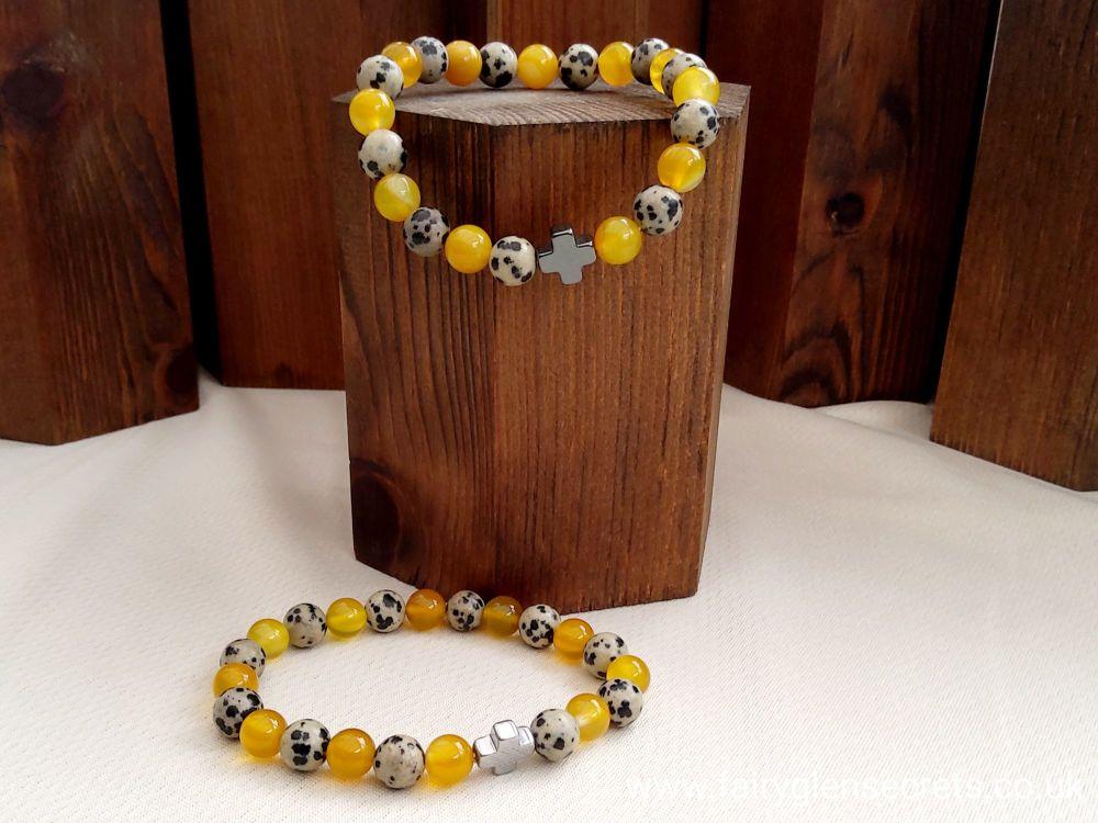 Set of 2 Gemstones Friendship Bracelets - Protection - Dalmatian Jasper & Y
