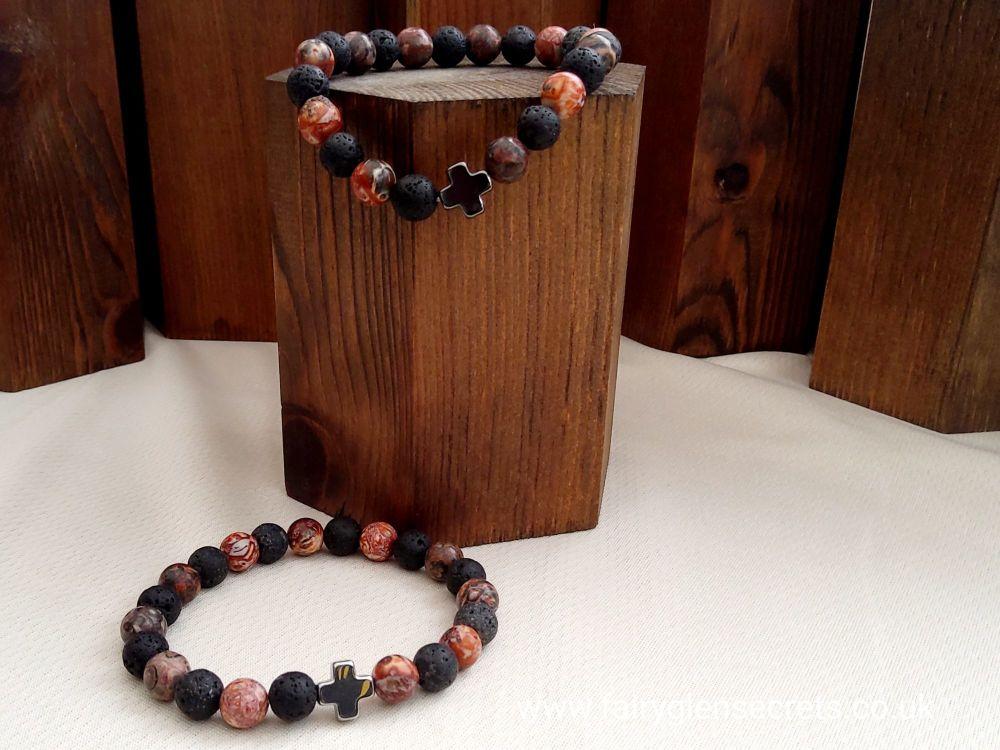 Set of 2 Gemstones Friendship Bracelets - Eternity - Leopard Skin Jasper &
