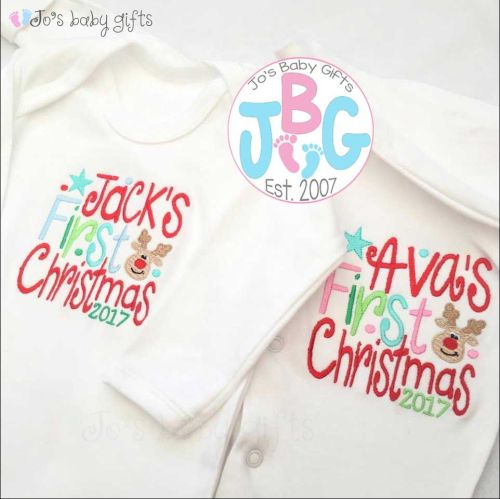 Personalised First Christmas Baby clothing, Sleepsuit/Vest/Bib/Rompersuit/V