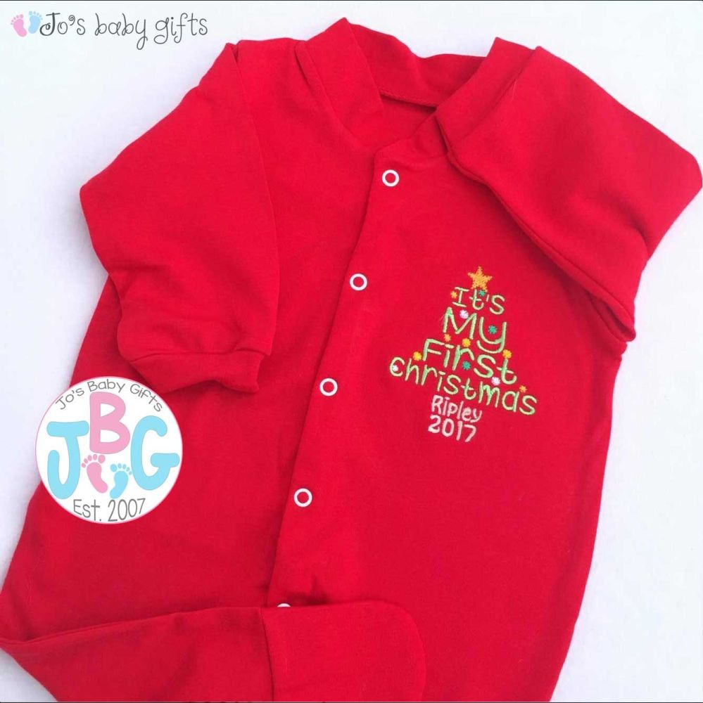 Personalised red 1st christmas tree sleepsuit