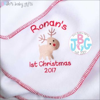 Personalised 1st Christmas rudolf blanket
