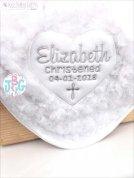 Personalised luxury white fluffy Christening Blanket