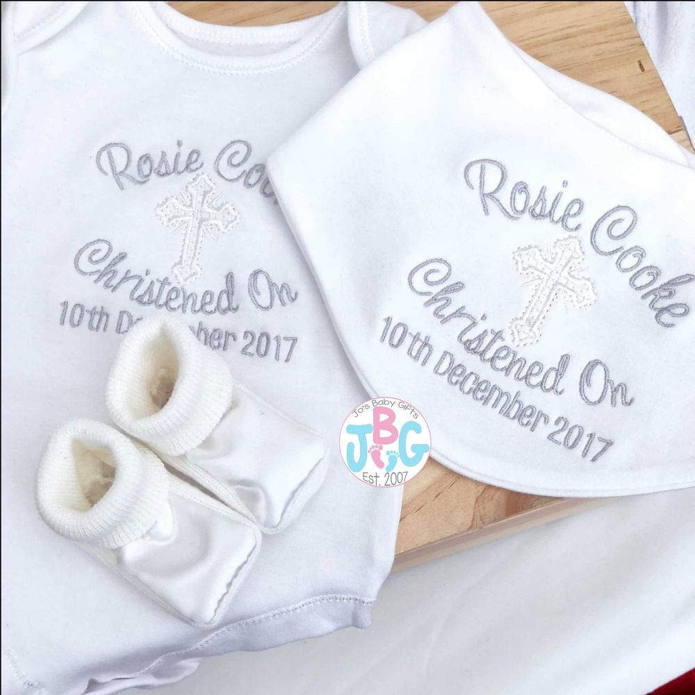Personalised Christening set - Vest, Bandana & Booties