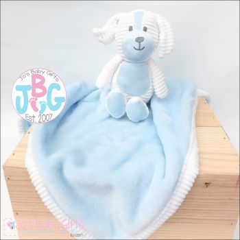 Personalised soft baby blanket with puppy toy