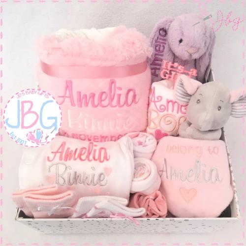 Luxury Personalised New Baby Gift Set