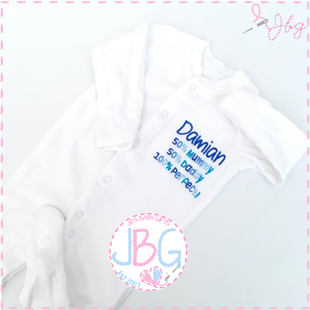Personalised Baby Sleepsuit 100% Perfect
