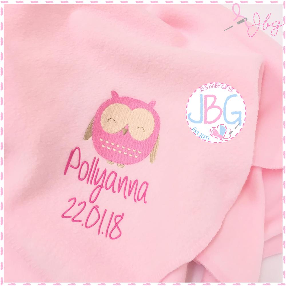Personalised Baby Owl Blanket