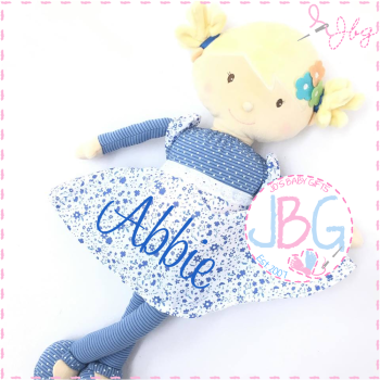Floral Blue Personalised Rag Doll