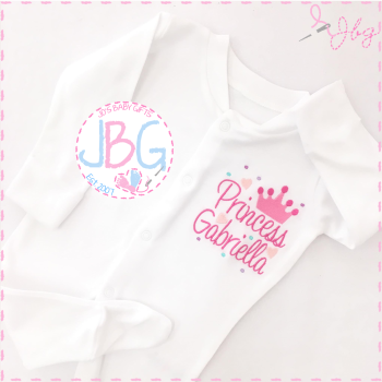 Personalised Girls Princess Crown Sleepsuit