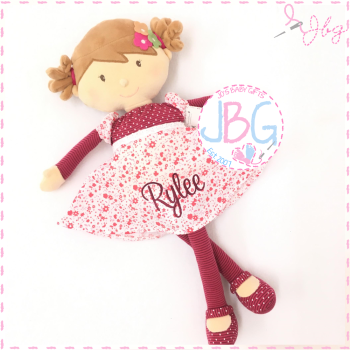 Floral Pink Personalised Rag Doll