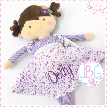 Floral Lilac Personalised Rag Doll