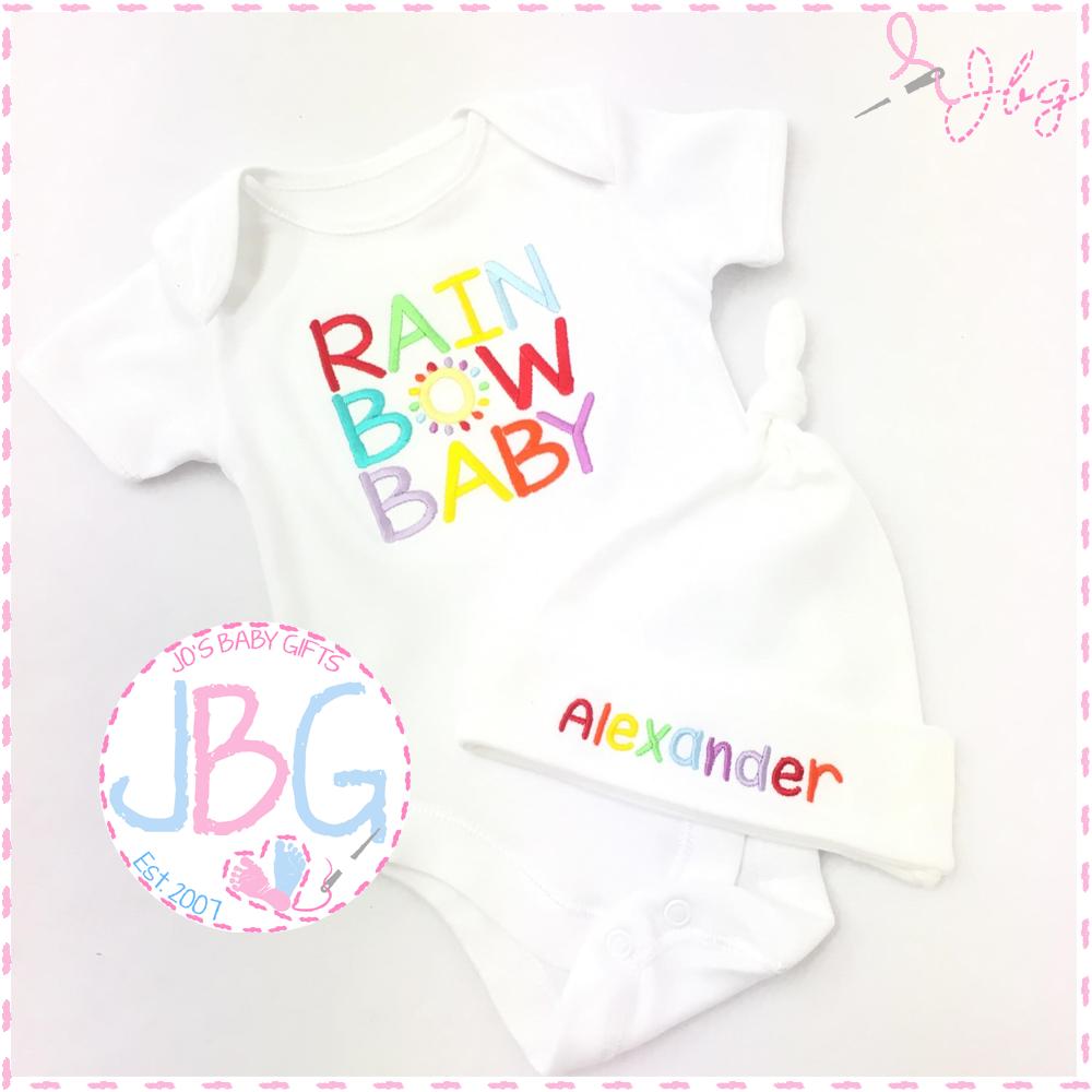 Rainbow baby vest & hat set