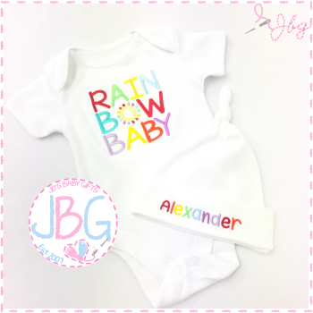 Rainbow baby vest & hat set