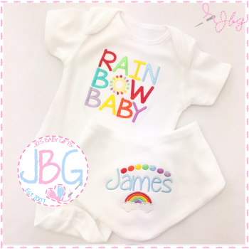 Personalied Rainbow baby bib and vest