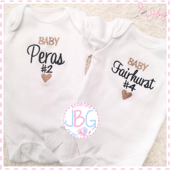Personalised Unisex Baby number vest